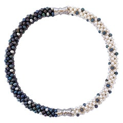 Marina J Black & White Pearl Convertible Necklace / Bracelet with Magnetic Clasp
