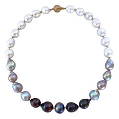 Marina J. Black, White & Grey Graduated Ombre Pearl Necklace with 14K Gold Clasp