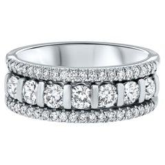 0.85 Carat 3 Row Diamond Wedding Band in 14 Karat White Gold, Shlomit Rogel