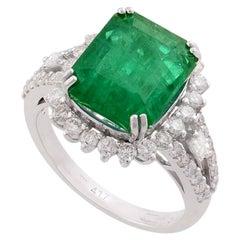 5.08 Carat Emerald Diamond 10 Karat Gold Ring