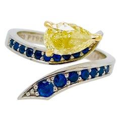 Custom Yellow Diamond Ring Pear Cut with Ceylon Sapphires