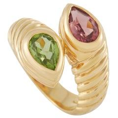 Bvlgari Doppio 18K Yellow Gold Tourmaline and Peridot Ring