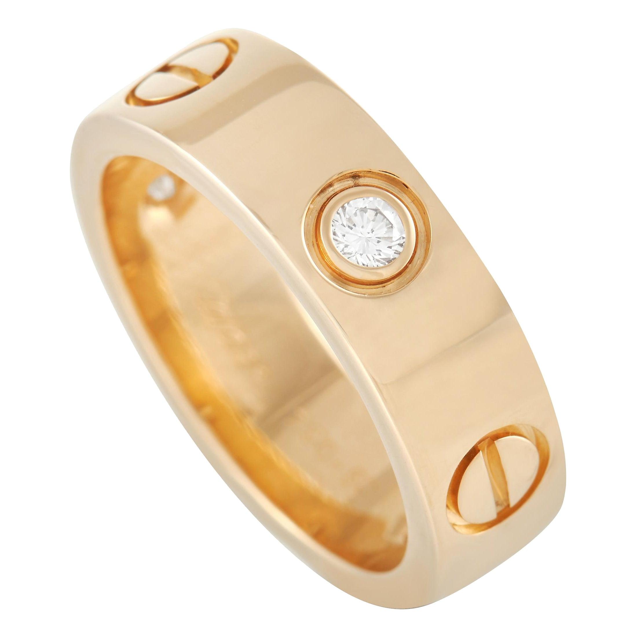 Cartier Love 18K Yellow Gold 3 Diamond Band Ring