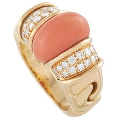 Bvlgari 18K Yellow Gold 0.40 Ct Diamond and Coral Ring