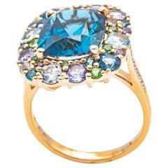 18K Pink Gold Tsavorite Topaz and Diamond Ring