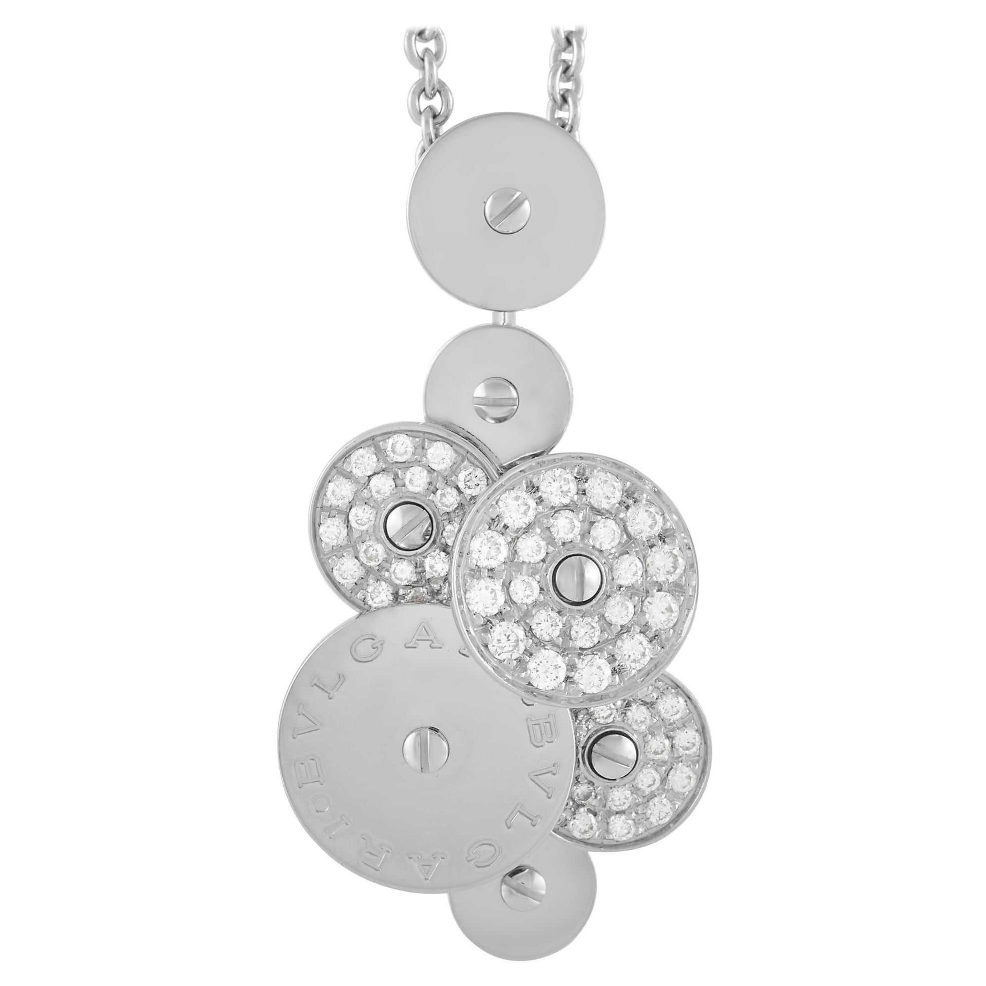 Bvlgari Cicladi 18K White Gold 0.50 Ct Diamond Pendant Necklace
