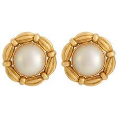 Tiffany & Co. 18K Yellow Gold Pearl Earrings