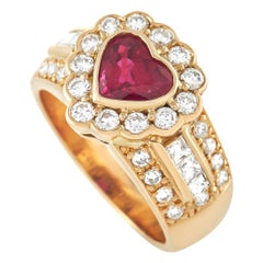 LB Exclusive 18K Yellow Gold 0.92 Ct Diamond and 1.17 Ct Ruby Heart Ring