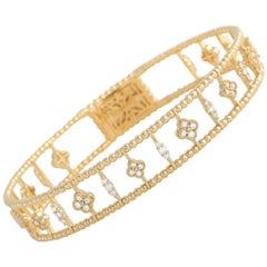 LB Exclusive 14K Yellow Gold 1.22 Ct Diamond Dainty Flower Bangle Bracelet