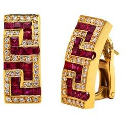 Dimos 18k Gold Greek Key Earrings with Rubies