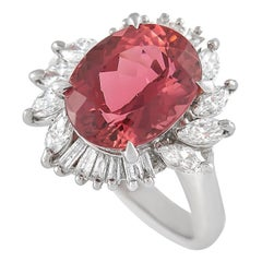 LB Exclusive Platinum 0.81 Ct Diamond and Tourmaline Ring