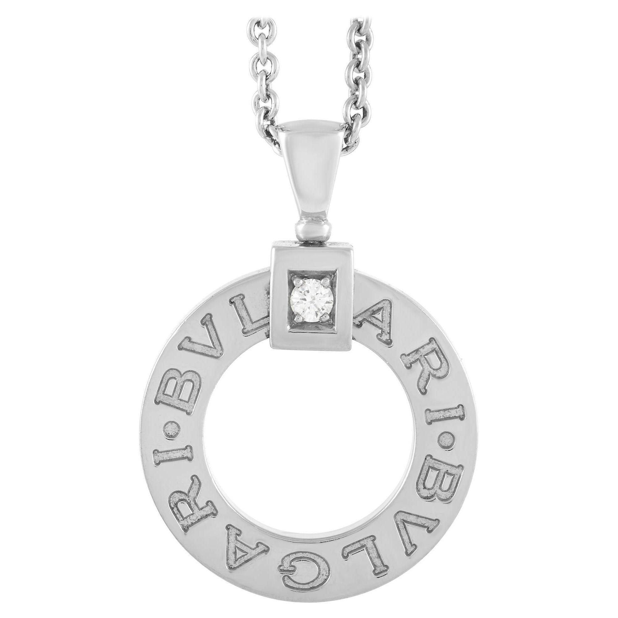Bvlgari 18K White Gold Diamond Pendant Necklace