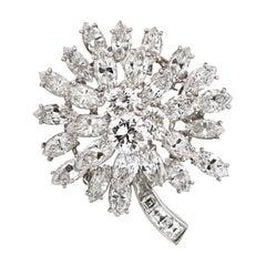 Oscar Heyman Circa 1960's Platinum 15 Carat Diamond Flower Brooch