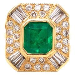 Estate Emerald and Diamond Yellow Gold Ring