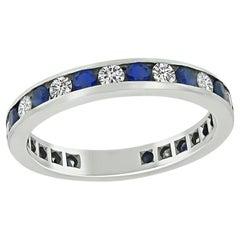 Tiffany & Co 0.60ct Diamond 0.60ct Sapphire Eternity Wedding Band