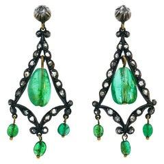 Georgian Emerald Silver 10k Gold Dangle Earrings Antique