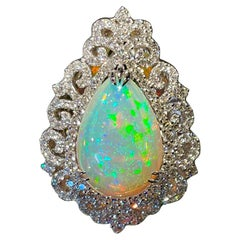 Spectacular 20 Carat Pear Shaped Opal and Diamond 18 Karat Gold Cocktail Ring