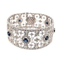 Art Deco Style 11.83ct Sapphire & Diamond 18k White Gold Bracelet