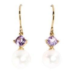 Cassy 9 Carat Yellow Gold Pearl and Cushion Cut Purple Amethyst Drop Earrings