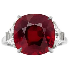 Emilio Jewelry Certified 7.00 Carat Pigeons Blood Ruby Ring