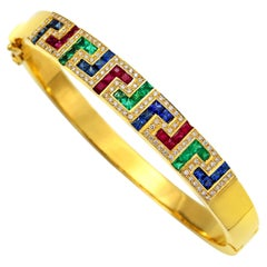 Dimos 18k Gold Greek Key Cocktail Bangle Bracelet