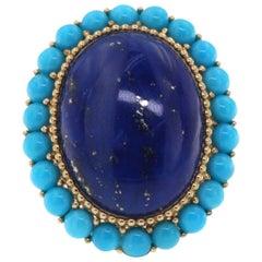 Lapis Lazuli Turquoise Ring in 14 Karat Yellow Gold