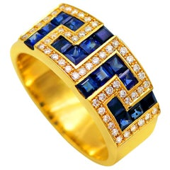 Dimos 18k Gold Greek Key Band Ring with Sapphires