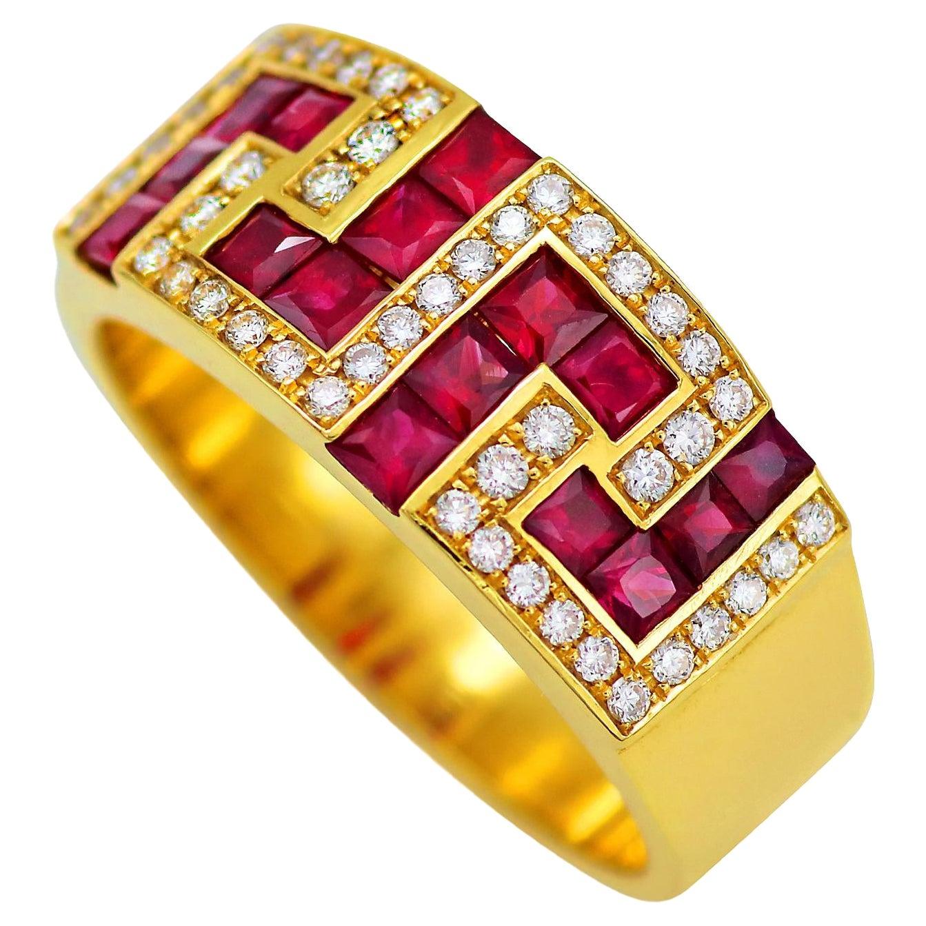 Dimos 18k Gold Greek Key Band Ring with Rubies