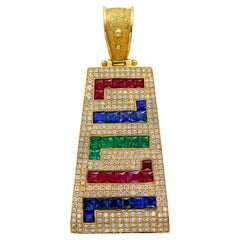 Dimos 18k Gold Greek Key Cocktail Pendant