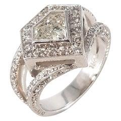 18 Ct White Gold Shield Cut Diamond Ring