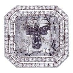 Rutilated Quartz Ring 18Kt White Gold with Diamonds Black Diamonds Hidden Angel