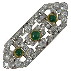 Art Deco Platinum 6.5ct Old Cut Diamond & Emerald Panel Brooch