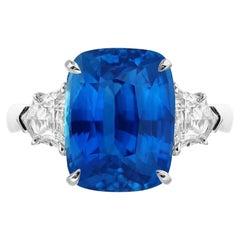 Emilio Jewelry Certified 6.25 Carat No Heat Cornflower Blue Sapphire Ring