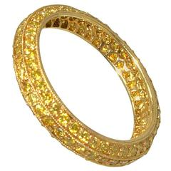 Pierre Famille Fancy Yellow Diamond Gold Eternity Band Ring