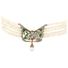 Masriera 5 Strand Pearl Chocker with Open Work Enamel and Diamond Plaque