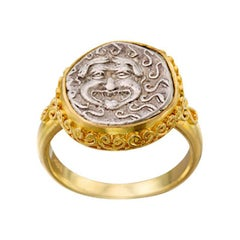 Ancient Greek 5th Century BC Medusa Coin 18K Gold Ring