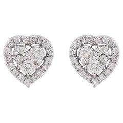 Heart Diamond 10 Karat Gold Stud Earrings