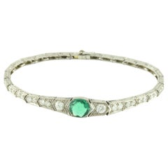 GIA Certified Art Deco Colombian Green Emerald and Diamond Bracelet