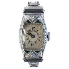 Art Deco Ladies 14k White Gold Filled Wrist Watch, c1932