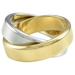 Hermes Two Color Gold Double Band Ring