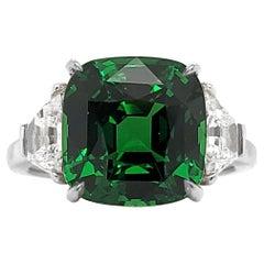 Emilio Jewelry Certified 5.75 Carat Vivid Green No Heat Tsavorite Ring