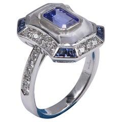 18k White Gold Ring w/ White Diamonds, Blue Sapphires, Tanzanite & White Quartz
