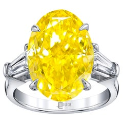 Emilio Jewelry GIA Certified 4.00 Carat Vivid Yellow Diamond Ring