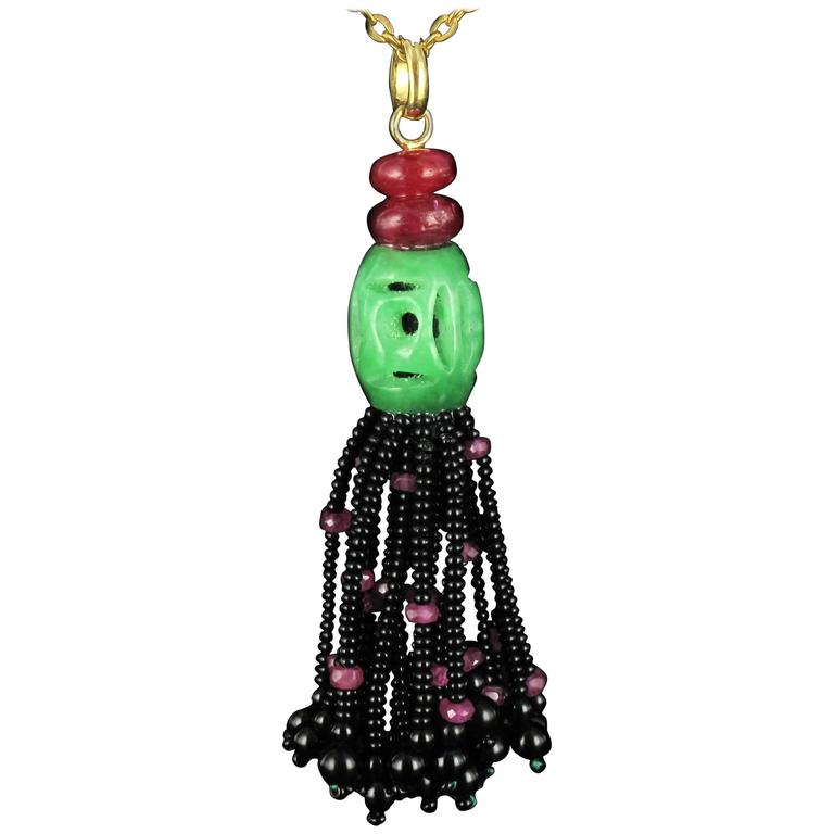 Jade Ruby Onyx Gold Pompon Pendant