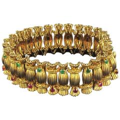 French 1950s Emerald Ruby 18 carat Gold Bracelet