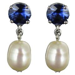 Pearl Royal Blue Sapphire Gold Drop Earrings