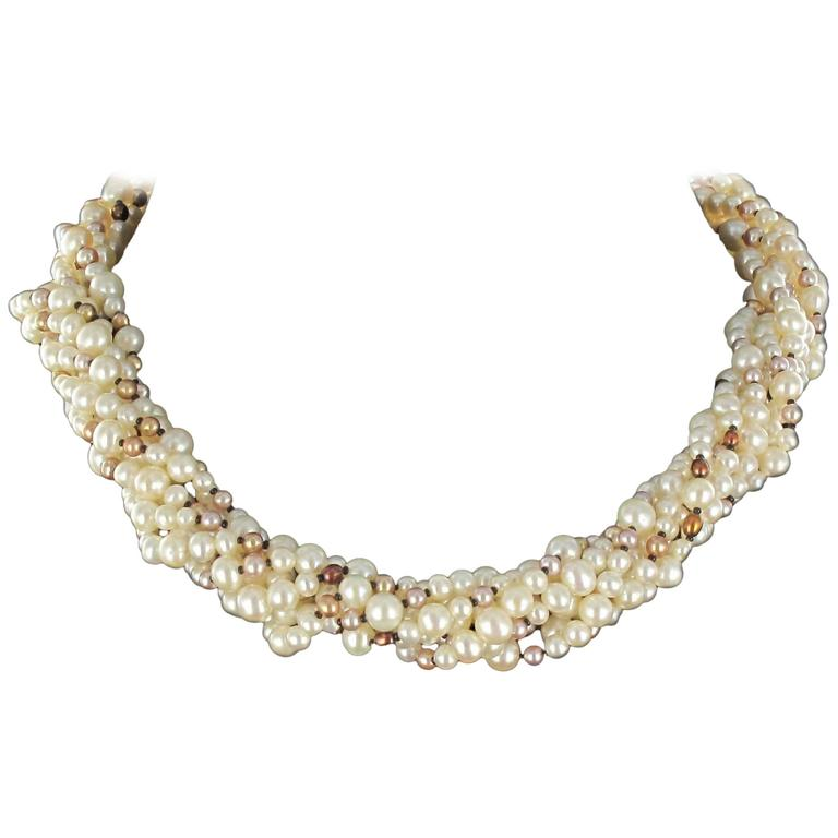 Combination Pearl Necklace and 1960s Diamond Brooch Clip