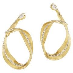 Neha Dani Pear Shape White Diamonds in 18K Yellow Gold Callista Hoop Earrings