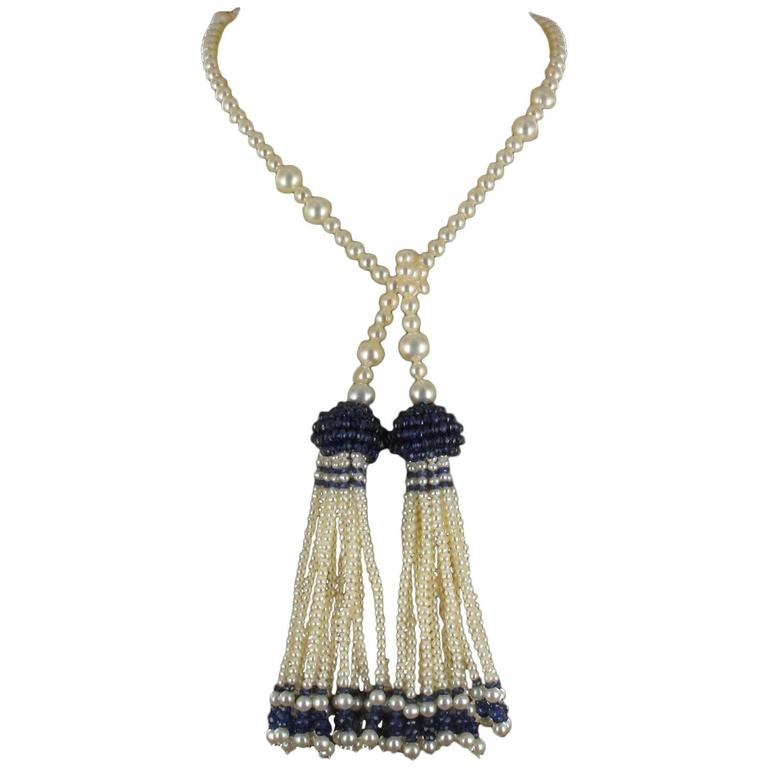Pearl Sapphire Tassel Necklace