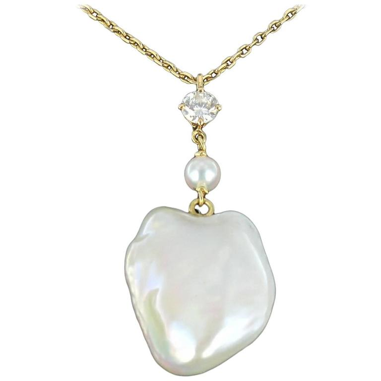 Keshi Natural Pearl Diamond Gold Pendant Necklace